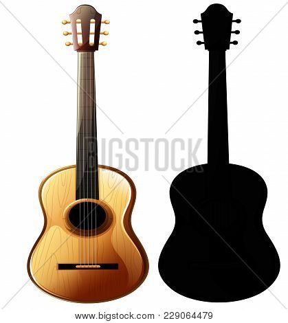 Musical Instrument - Realistic Layout Of Acoustic Guitar And Guitar Silhouette, Close-up