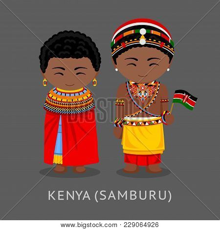 Kenyans In National Clothes With A Flag. Samburu Tribe. Man And Woman In Traditional Costume. Travel
