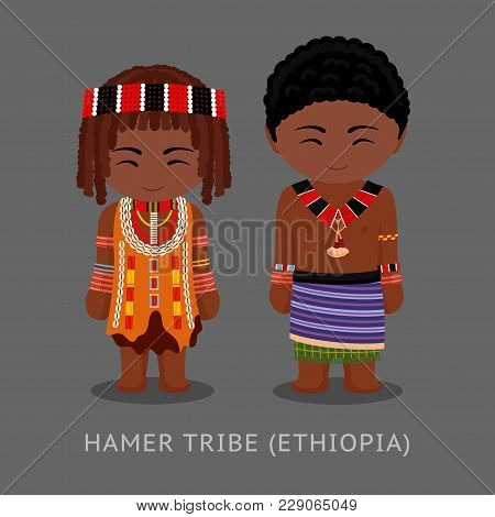 Hamer Tribe In Traditional Costume. Man And Woman, Boy And Girl. Cute Cartoon Characters. Travel To