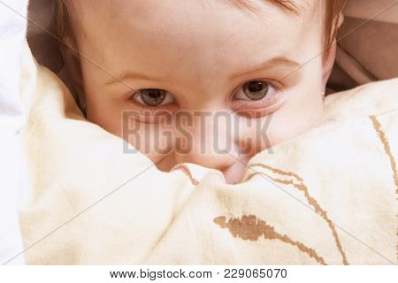 Time To Wake Up. Cute Little Child Girl On Sleeping Bed (happy Bedtime And Good Morning, Childhood,