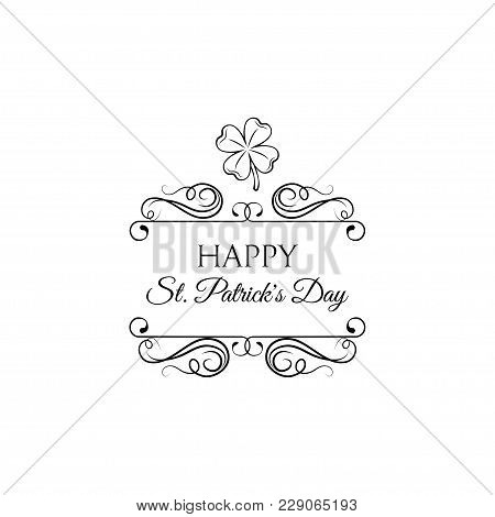 Good Luck Clover Or Four Leaf Clover Icon With Swirls. St Patrick S Day. Vector Illustration.