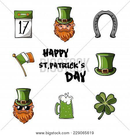 Happy St. Patrick S Day Vector Illustration Icon Set. Traditional Irish Symbols In Modern Flat Style