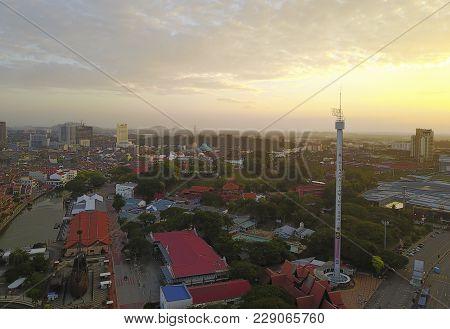 Malacca, Malaysia - February 11, 2018; Aerial View Of Taming Sari Tower At Malacca City During Sunri