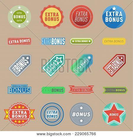 Super Extra Bonus Vector Labels Banners Text Color Business Shopping Concept. Internet Promotion Sho