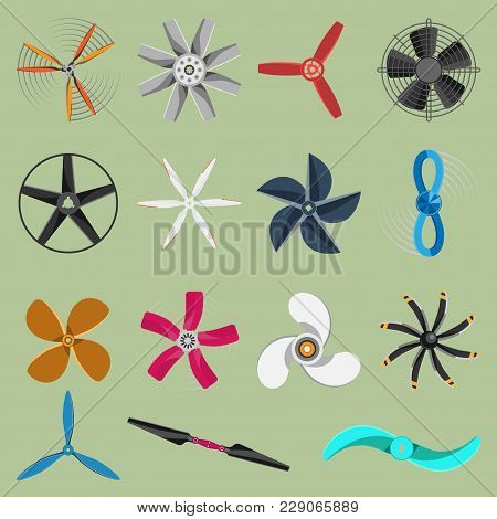 Vector Fans Propellers Icons Isolated Object. Propeller Fan Icons Cool Ventilation Ship Symbol Retro
