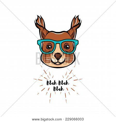 Portrait Of Squirrel In Glasses. Squirrel Geek. Vector Illustration Isolated On White Background.
