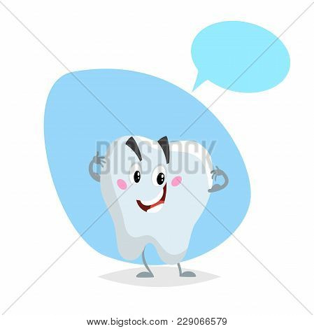 Cartoon Healthy Tooth Smiling Mascot. Dental Care  Character With Dummy Speech Bubble. Vector Illust