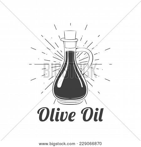 Olive Oil In Beams Icon Image. Vector Illustration Isolated On White Background.