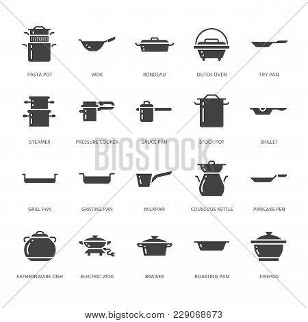 Pot, Pan And Steamer Glyph Icons. Restaurant Professional Equipment Signs. Kitchen Utensil - Wok, Sa