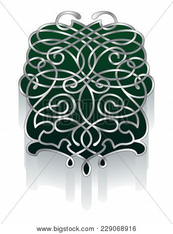 Ornate Abstract Design For A Crest Or Centerpiece. Forest Green And Pewter Silver