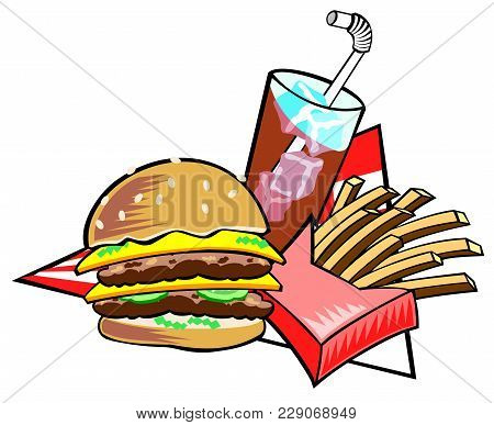 Illustration Of Hamburger, Fries And A Drink