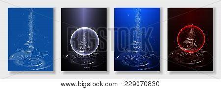 Minimal Brochure Templates. Abstract Digital Texture On Dark Background. Technology Sci-fi Concept,