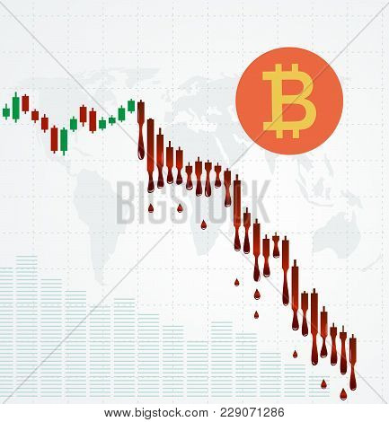 Bitcoin Symbol And Bleeding Chart. Financial Metaphor