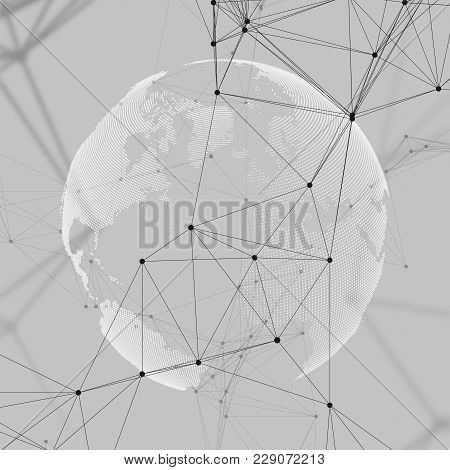 Abstract Futuristic Network Shapes. High Tech Background, Connecting Lines And Dots, Polygonal Linea