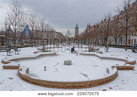 Lyon, France, March 1, 2018 : Place Bellecour, As A Cold Spell Rages In All Europe And The Capital O