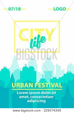 City Skyline Background. Vertical Poster Template With Urban Landscape. Blue Pastel City Silhouette