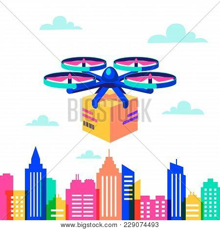 Drone Over City Landscape. Remote Air Drone With Parcel Over Silhouettes Of Buildings With Neon Glow