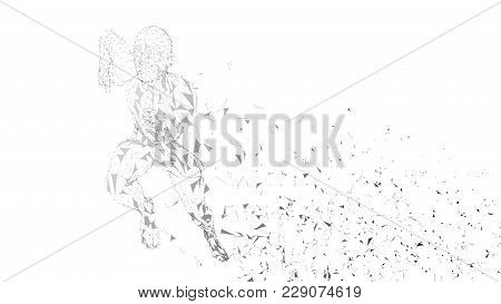 Conceptual Abstract Running Man. Runner With Connected Lines, Dots, Triangles, Particles On White Ba