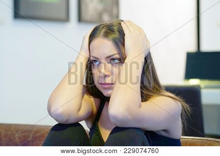 A Lonely Young Woman, She Is Depressed And Separated From Problems In Her Personal Life. The Concept