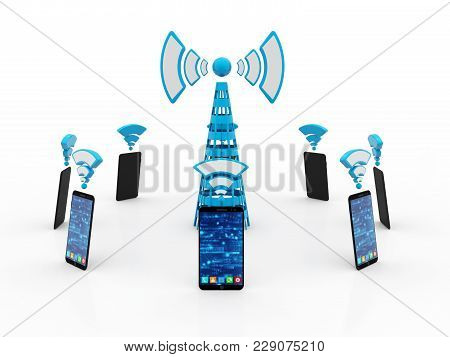 Mobile Phones Around Cell Tower.isolated On White Background, Mobile Transmitter, Internet Communica