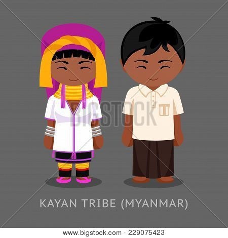 Kayan Tribe In Traditional Costume. Man And Woman, Boy And Girl. Cute Cartoon Characters. Travel To