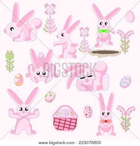 Vector Illustration Elements For Flat Design Set Of Pink Easter Rabbits In Different Poses With East