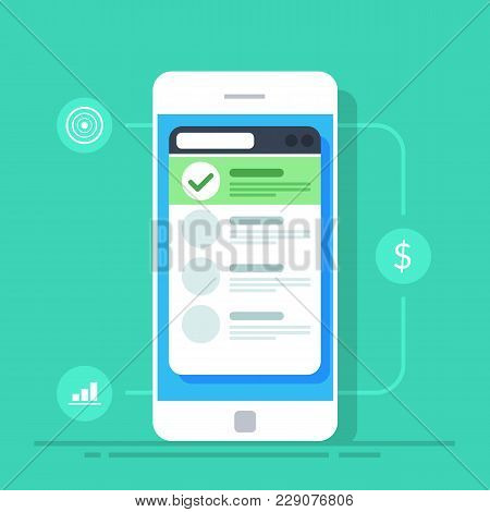 List On The Screen Of A Mobile Phone. Flat Vector Illustration Isolated On Background