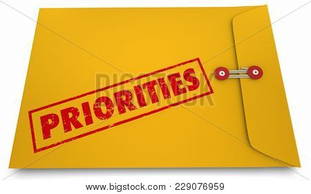 Priorities Important Documents Projects Tasks Envelope 3d Illustration