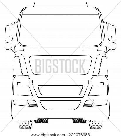 Front View Cargo Truck Isolated On White Background. Eurotrucks Delivering Vehicle Layout For Corpor