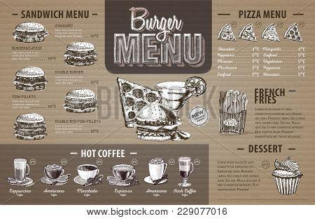 Vintage  Burger Menu Design On Cardboard. Fast Food Menu