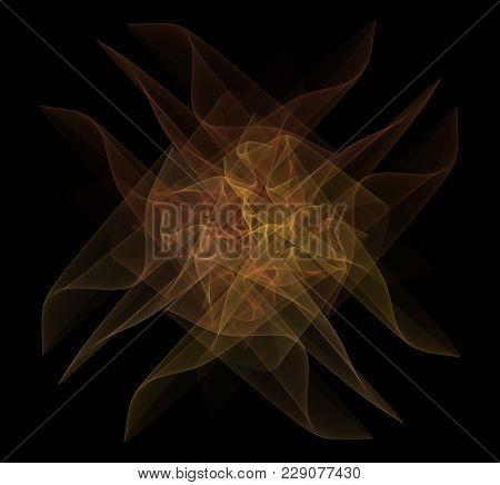 Bright Abstract Fractal Yellow Veil Of Fantasy, Fractal Waves Fantasy