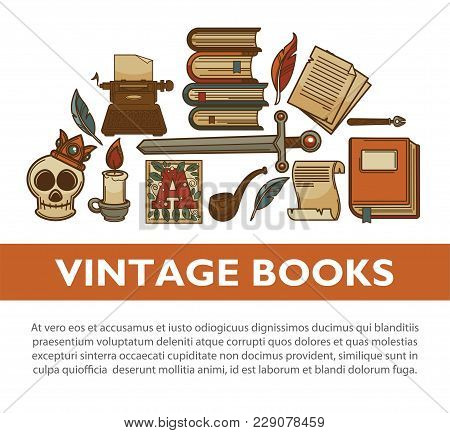 Literature Vintage Books And Writer Stationery Poster. Vector Old Typewriter, Rare Adventure Or Dete