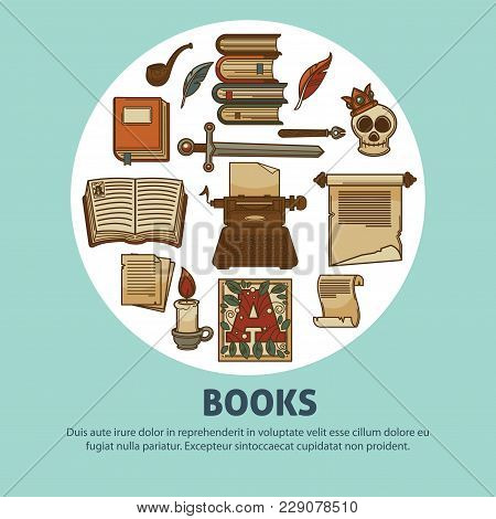 Books Poster For Bookshop Or Bookstore Of Vintage Books And Poetry Stationery Or Library Novels Or F