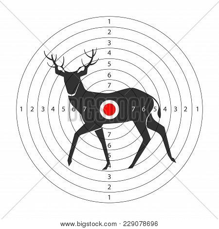 Target For Shooting Gallery With Deer Black Silhouette And Circles With Score. Paper Aim With Forest