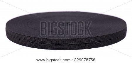Black Sewing Elastic Band Isolated On White Background