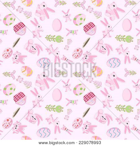 Vector Seamless Flat Pattern Of Pink Rabbits In Different Poses, Plants And Easter Eggs Isolated Pin