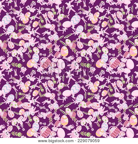 Vector Seamless Flat Pattern Of Pink Rabbits In Different Poses, Plants And Easter Eggs Isolated Pur