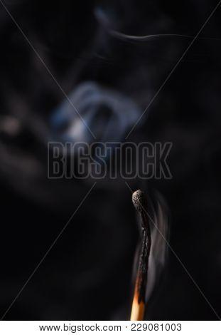 Smoke From An Extinct Wooden Match Close Up