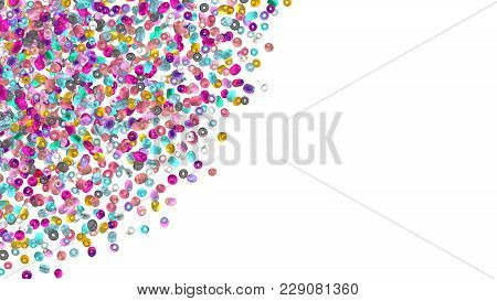 Beads Background. Fashion Accessory. Handmade Craft. Glass Beads Top View. Sequins. Heap Of Gems. Rh