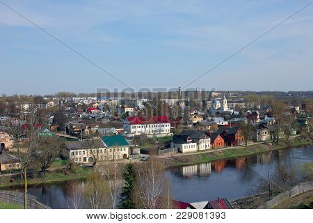 Russian Provincial Landscape -  Provincial Old Russian Town With Small Old Houses, Torzhok, Russia