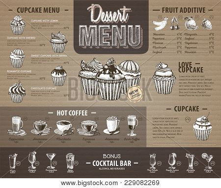 Vintage Dessert Menu Design On Cardboard. Fast Food Menu
