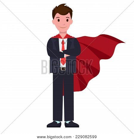 Smiling Cartoon Character In Classic Suit, With Red Cloak Outdoor Overgarment, That Hangs Loosely Fr