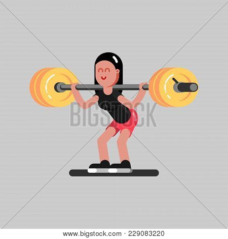 Girl Makes A Squat With Weight In Gym. Vector Illustration, Eps 10