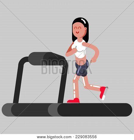 Girl Runing On Running Track. Vector Illustration, Eps 10