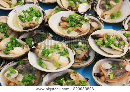 Seafood. Shellfish. Raw Scallops In Shells With Green Onions