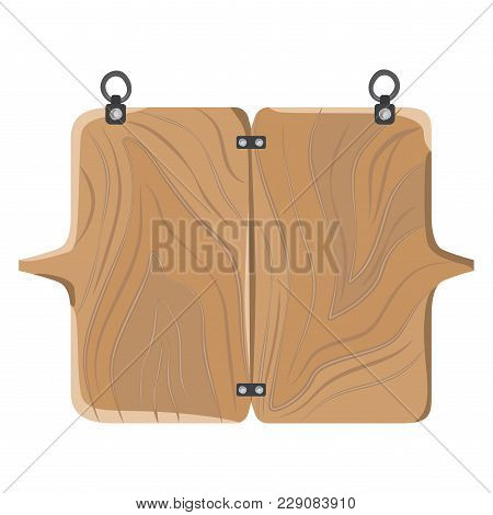 Wooden Board With Metal Fasteners, Connected To Each Other, Empty Signboard, Made Of Wood, Vector Il