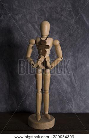 Cross On The Neck Mannequin Wooden Believer God Plea Plea Christianity