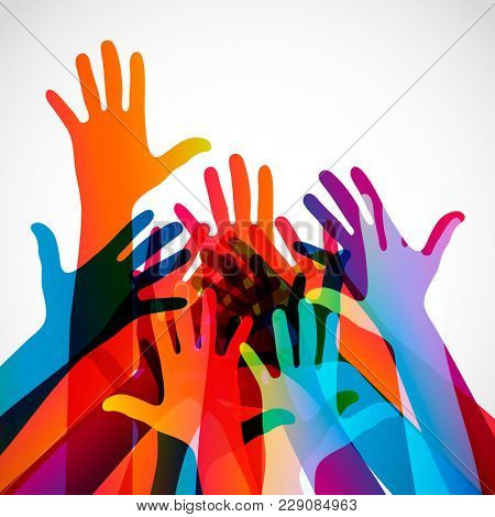 Hands on a light background. Colorful silhouettes arms.  Team, help, friendship symbol illustration.