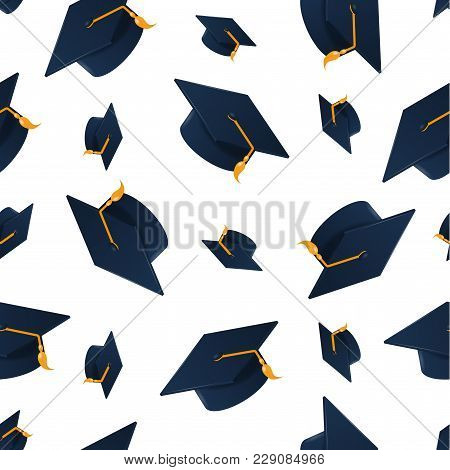 Graduation Cap On White Background. Seamless Pattern.