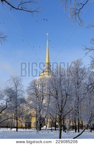 Park, Building With A Gold Spire, Admiralty Building In St. Petersburg, Sky, Birds Flying In The Sky